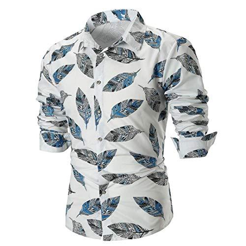 MRULIC Herren Shirt Kentkragen Langarm Shirts Businesshemd Freizeithemd Oktoberfest Karnevals kostüm(B-Weiß,EU-46/CN-L) (Überprüfen Sie Wolle Seide Schal)