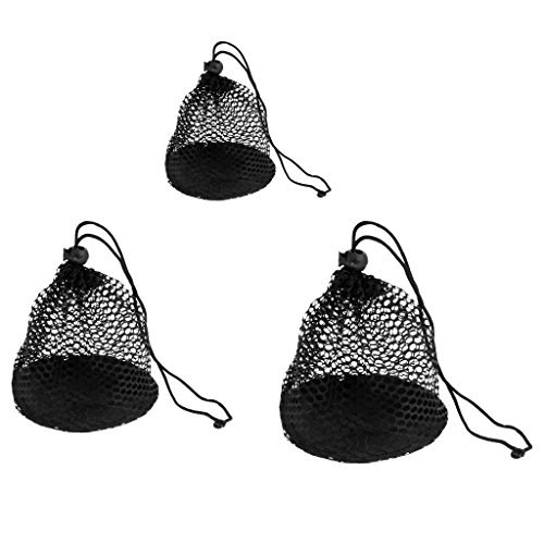 3 Pieces Nylon Mesh Net Bag Golf Tennis Ball Carrying Holder Storage Pouch