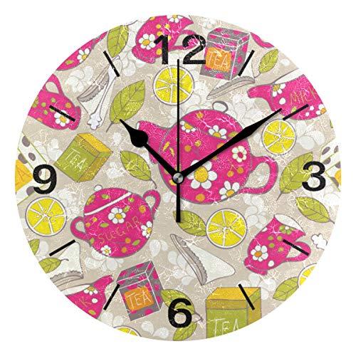 ISAOA Runde Wanduhr, modernes Design, geräuschlose Uhren, Dekoration, Zuhause, Küche, Wohnzimmer, Schlafzimmer, Schule, Büro, niedliche Tee-Uhr, batteriebetrieben