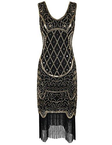 Kayamiya Damen 1920er 20er Art Deco Inspiriert Flapper Großes Gatsby Franse Kleid L (Kostüm 20's)
