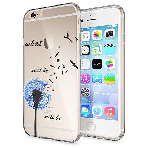iPhone 6 6S Coque Protection de NICA, Housse Motif Silicone Portable Premium Case Cover Transparente, Ultra-Fine Souple Gel Slim Bumper Etui pour Apple iPhone 6S 6 - Transparent Dandelion Bleu