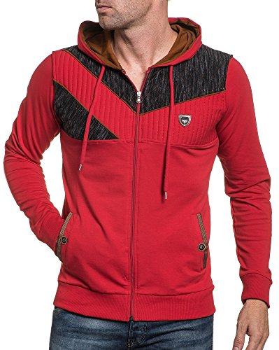 BLZ jeans - Gilt sweat homme rouge zipé à capuche Rouge