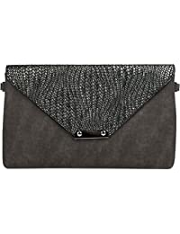StyleBREAKER Envelope Clutch Bag With Braided Look On The Envelope, Wrist Strap, Shoulder Evening Bag, Ladies...