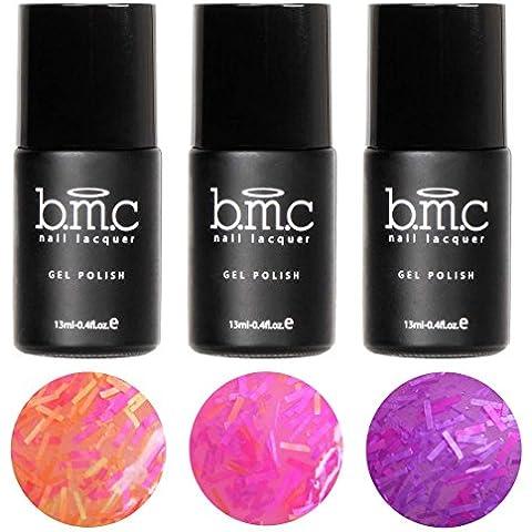 BMC 3 piezas Neón Purpurina Sheer Gel UV/LED Esmalte De Uñas De Gel Flequillo Beneficios Completo Master
