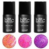 BMC 3 piezas Neón Purpurina Sheer Gel UV/LED Esmalte De Uñas De Gel Flequillo Beneficios Completo Master Set