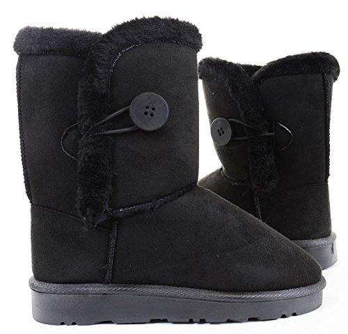Fourever Funky De la Mujer Piel sintética de botón caña mitad de la pantorrilla plana botas de tobillo, color Negro, talla 38 EU M
