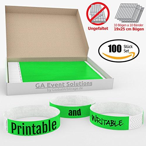 aus Tyvek zum selbst gestalten und bedrucken in Grün von GA Event Solutions - Party Einlassbänder, Festival Armbänder für dein Event (Party-bänder)