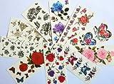 10pcs/package heißer Verkauf Tattoo-Aufkleber verschiedenen Ausführungen einschließlich bunten Blumen und Schmetterlingen / rote Rosen / rote Pfingstrose / schwarze Blumen und schwarze Schmetterlinge / etc.