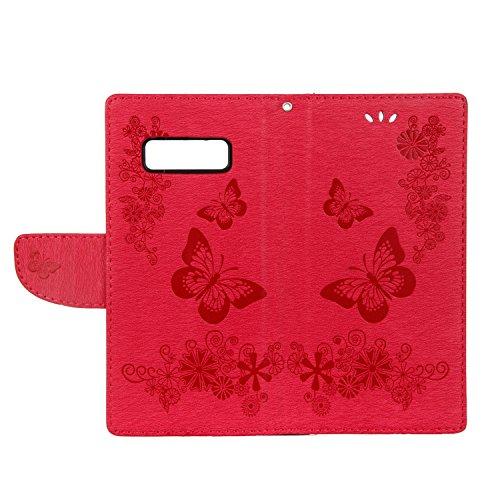 Cover Samsung Galaxy Note 8, Alfort Custodia Protettiva in Pelle Verniciata Goffrata Farfalle e Fiori Alta qualità Cuoio Flip Stand Case per la Custodia Ci sono Funzioni di Supporto e Portafoglio Chiu Rosso