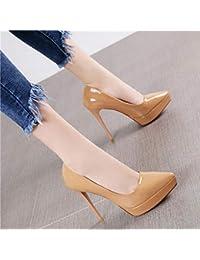 HRCxue Zapatos de la Corte Sexy Vino Rojo Puntiagudo Boca Baja Plataforma  Impermeable Estilete súper Tacones 90284e68da72