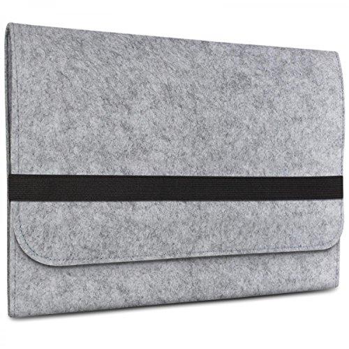 eFabrik Tasche für Samsung Galaxy Book 10,6 Zoll (SM-W620) Schutztasche Sleeve Cover Laptop Schutzhülle Soft Zubehör Filz, Farbe:Grau