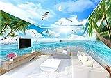 Fototapete Vlies Tapete 3D Wallpaper Wanddeko Design Moderne Anpassbare Wandbilder Blauer Himmel, Weiße Strand, Kokosnuss - Baum, Blick Aufs Meer, Das Ganze Haus Hintergrund Mauer