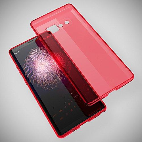 Samsung Galaxy Note 8 Hülle Handyhülle von NICA, Ultra-Slim Silikon Case Cover Crystal Schutzhülle Dünn Durchsichtig, Etui Handy-Tasche Backcover Transparent Bumper für Note-S8, Farbe:Pink Rot