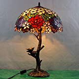 Tiffany Tischlampe,Rose Glasmalerei Lampe für Schlafzimmer, Wohnzimmer, Vogel Leselampe GYLTF-054