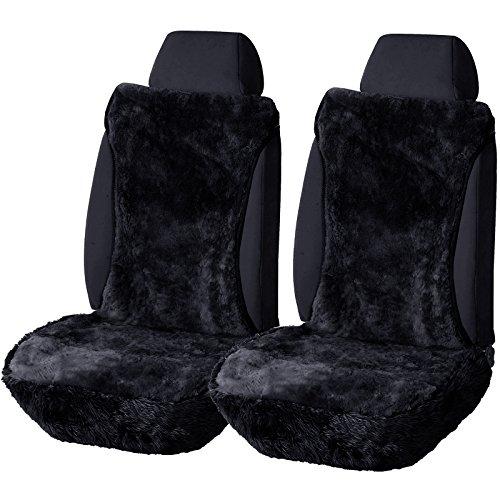 2er Lammfellbezug 100% Echtlammfell Vollbezug Vordersitzbezug, feste Wolle, universal Auto Sitzbezugca. 1.8 cm dicke, Dunkelgrau AS7336dgr-2