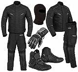 Ein komplettes Set von wasserdichtem Motorrad 2 Stück Anzug Motorrad Moped Getriebe in Cordura Stoff mit CE-Zulassung Rüstung - Jacke + Hose + Kurze Stiefeletten + Handschuhe + Sturmhaube (Full Black - Small)