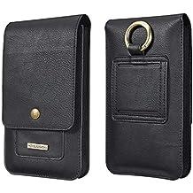 DG MING® General Mobile GM 8 Case with 11 Card Slot Waist Holster Pouch Leather Flip Belt Clip Cases Waist Bag Pack for General Mobile GM 8 Mobile Phone - Black
