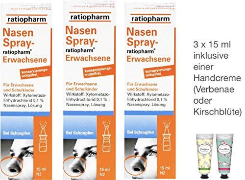 Nasenspray Ratiopharm Erwachsene 15ml - 3er Sparset - inkl. einer Handcreme von Apotheken-Express (Kirschblüte o. Verbenae)