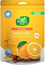 Happi Doggy Gluten Free Dog Treats - Orange - Complete Dental Care with Omega 3 & 6 for Healthy Coat Dog Treats 150 GMS