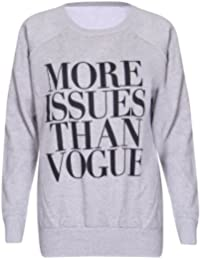 Womens More Issues Than Vogue Printed Ladies Stretch Round Crew Neckline Long Raglan Sleeve Sweatshirt Jumper Top