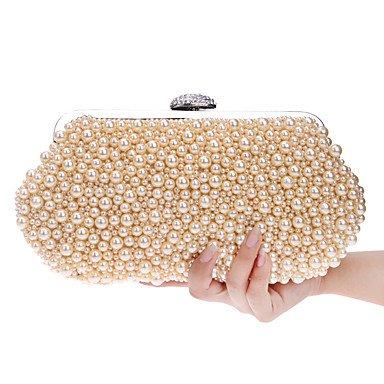 Woman Fashion Luxus Hochwertige Imitation Pearl Diamonds Abend Tasche Champagne