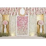 YongFoto 2,2x1,5m Vinile fondali fotografici Sfondo romantico di nozze Rose Colonne di fiori Parete floreale Sfondo foto San Valentino nozze Fondale foto Studio fotografico Accessori