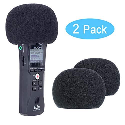 YOUSHARES schiuma parabrezza per microfono di registrazione H1, copertura mic parabrezza pop filtro microfono per H1 (2 confezioni)