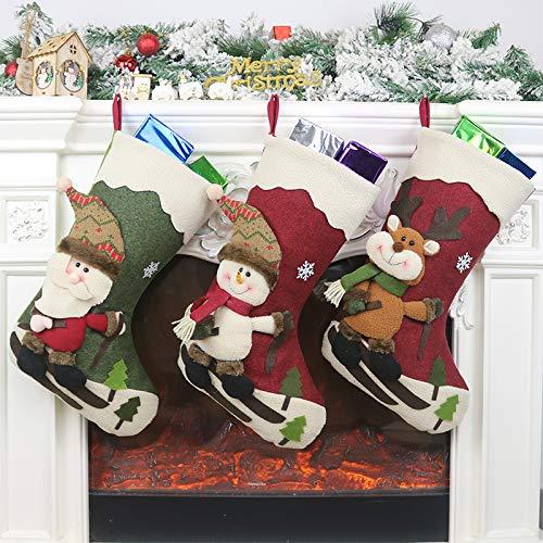 Calcetín de navidad 3 pcs,Medias de regalo de saco de Navidad para la decoración del árbol ,Adorno...