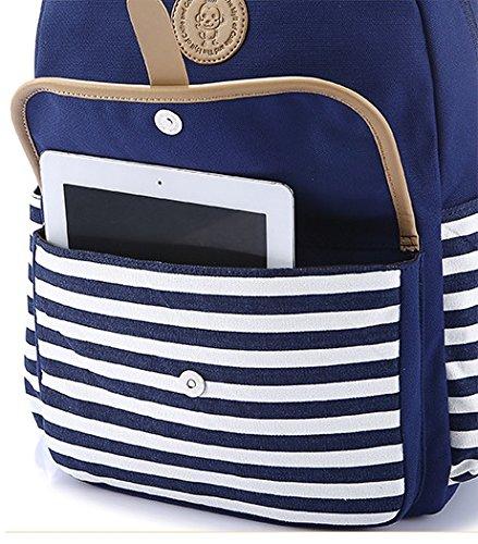 Artone Wasserabweisend Grösse Kapazität Daypacks Schulranzen Rucksack Mit Laptop-Fach Passen 14 Notizbuch Grün Rosa Streifen mit Pattentasche