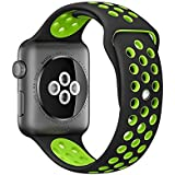 eCosmos 42mm Replacement Quick Release Sports Silicone Sport iWatch Braclet Strap Band For Apple Watch Series 1 2 & 3(Black Green)