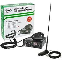 CB Funk Transceiver PNI Escort HP 8000L mit einstellbaren ASQ, 4W Tastensperre + CB Antenne PNI Extra 45 SWR 1.0 45cm hoch Glasfaser magnetische Halterung enthalten