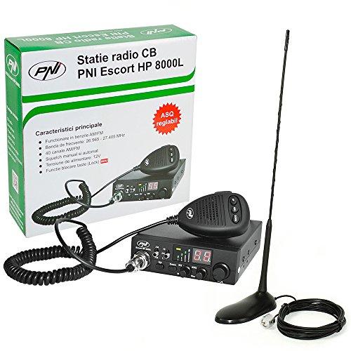 CB Funk Transceiver PNI Escort HP 8000L mit einstellbaren ASQ, 4W Tastensperre + CB Antenne PNI Extra 45 SWR 1.0 45cm hoch Glasfaser magnetische Halterung enthalten (Radio-transceiver)