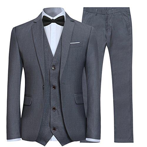 Costume Couleur Unie en cérémonie Mariage Veste Gilet Pantalon Homme Slim fit,Gris,Medium