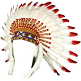 Indian headdress native american chief white feathers red tips black spots
