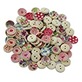 #1: Generic 100Pcs Painted Colors Round Diy Wooden Buttons For Sewing And Crafting