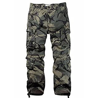 MUST WAY Men's Cargo Regular Trouser Army Combat Work Trouser Workwear Pants with 8 Pocket 3357C A Camo 34