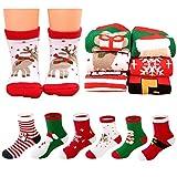 MMTX Weihnachten Socke Baumwolle Tier Weihnachtsmann 6 Paar Weihnachten Socken Geschenke 0-10 T (L)