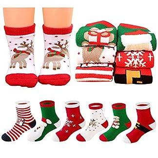 MMTX Navidad calcetín Lindo de algodón Animal de Dibujos Animados Reno de Santa Claus Antideslizante Unisex 6 Pares Calcetines de Navidad Regalos para niño niña 0-10T