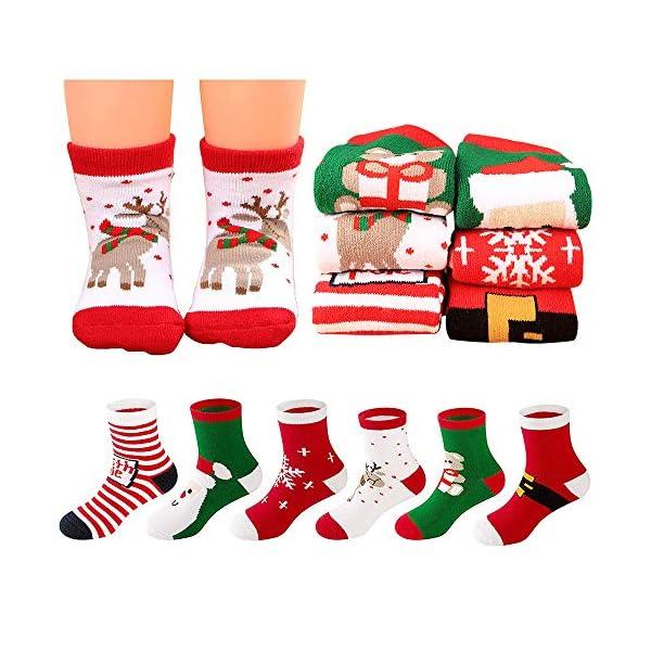 MMTX Navidad calcetín lindo de algodón Animal de dibujos animados reno de Santa Claus antideslizante Unisex 6 pares… 1