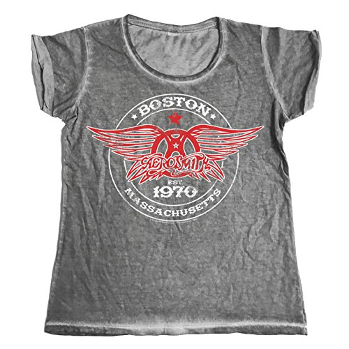 Offizielles Lizenzprodukt Aerosmith - Est. 1970 Boston Urban Schmale Passform Damen T-Shirt (Grau), Medium (Damen T-shirt Aerosmith)