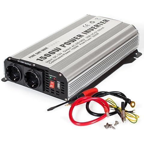 TecTake Sinusoidal Pur Sinus Inversor eléctrico onda pura 12V a 220V de 1500W 3000W convertidor de