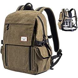 Zecti Sac à dos pour appareil photo antichoc Sac à bandoulière en toile imperméable pour DSLR Grande capacité(lentille 4x, ordinateur portable et autres appareils photos avec accessoires) - Verte