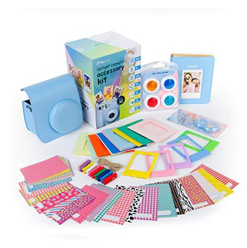 digipower 53-teiliges Zubehör-Set für Sofortbildkamera Fujifilm Instax Mini 9/8/8+/7s mit Kameratasche, Selfie-Linse, Fotoalbum, 4 Farbfilter, Bilderrahmen, Hängebilderrahmen & Folienaufkleber, blau