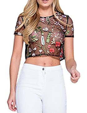 Lettre d'amour Las Mujeres de Verano de Manga Corta Cuello Redondo Scoop Sheer Transparente Simple Crop Top Camiseta...