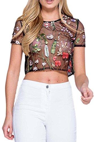 Las Mujeres de Verano de Manga Corta Cuello Redondo Scoop Sheer Transparente Simple Crop Top Camiseta Blusa Bordada Black M