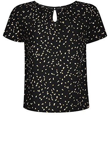 oodji Ultra Damen Lässige Bluse mit Tropfenausschnitt Schwarz (2957G)