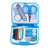 Caja costura mini costurero viaje portatil agujas hilo botones alfileres tijeras color azul de...