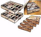 fwehfefh 2x 12Paar Unterbett Unter Bett Schuhe Aufbewahrung platzsparend Schuh Organizer Beutel Karton