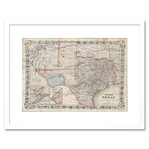 MAP ILLUSTRATED ANTIQUE COLTON TEXAS BLACK FRAMED ART PRINT B12X4927