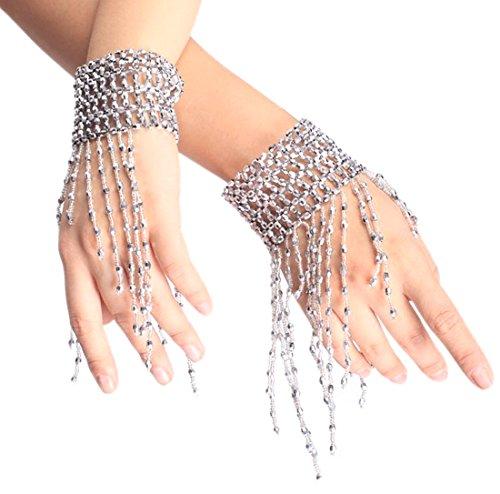 Fletion 1 Paar Mode Bauchtanz Armband Party Quaste Retro Bracelet Handgelenk Arm Kostüm Schmuck (Designer Professionelle Tanz Kostüme)